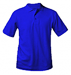 Unisex Interlock Knit Polo Shirt - Short Sleeve - Royal Blue