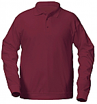 Eagle Ridge Academy - Unisex Interlock Knit Polo Shirt with Banded Bottom - Long Sleeve