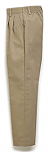 Girls Twill Pants - Pleated Front, Elastic Back - #4019 - Khaki