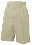 Boys Twill Shorts - Pleated Front - Khaki