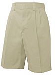 Boys Twill Shorts - Pleated Front - Adjustable Waist - Khaki