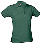 Girls Fitted Mesh Knit Polo Shirt - Short Sleeve - Hunter Green