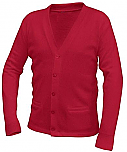 Unisex V-Neck Cardigan Sweater with Pockets - Red