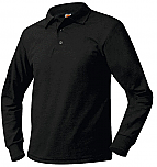 Unisex Mesh Knit Polo Shirt - Long Sleeve - Black