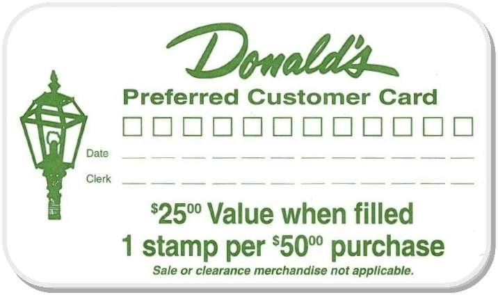 Donald's Preferred Customer Stamp Card