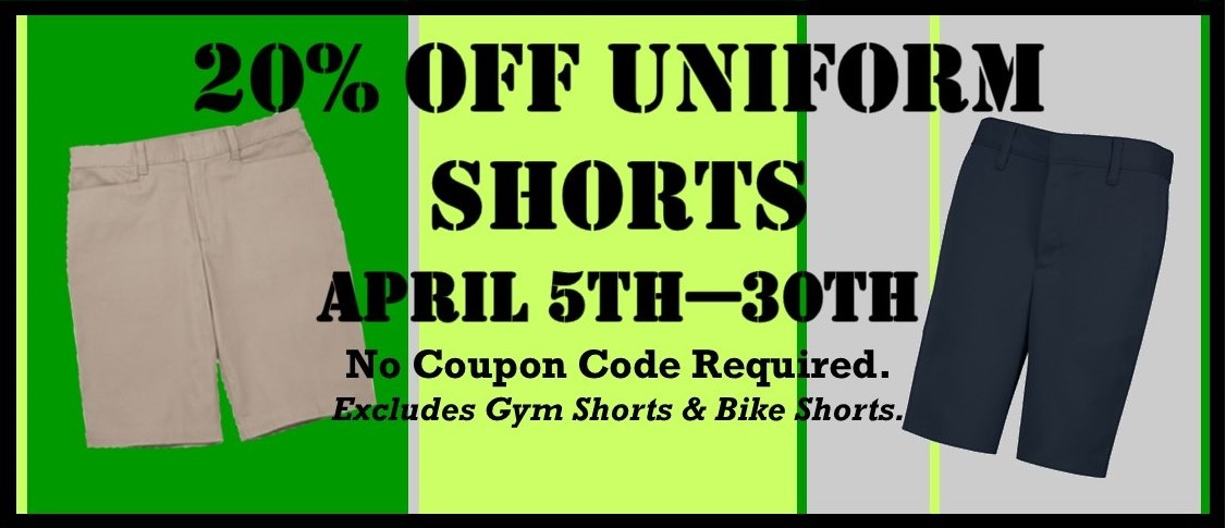 20% Off All Shorts - April 5th-30th